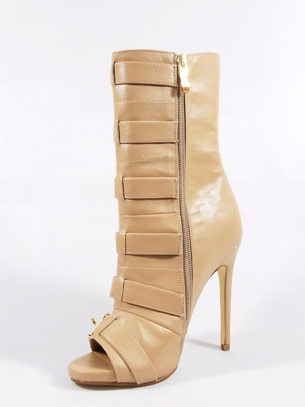 Nelly Bernal Lola Nude Open Toe 5 Buckle 4.75 Heel Ankle Boot