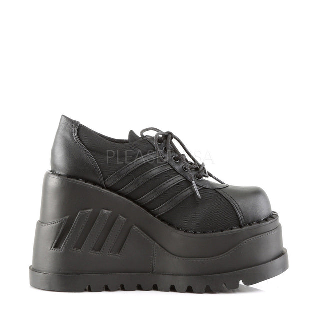 Stomp 08 Platform Sneaker Oxford Wedge Shoes 6-11 Black Matte