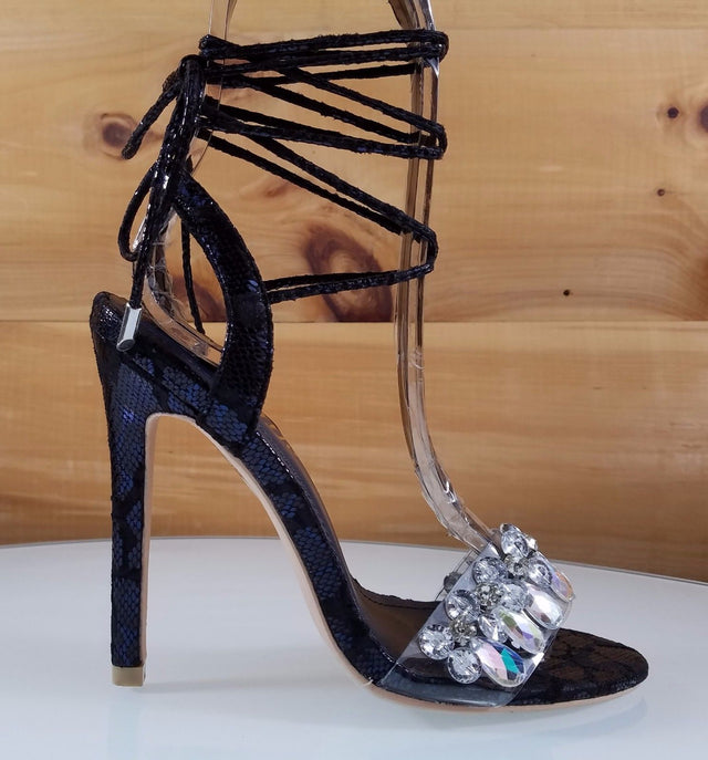 "So Me Jules Blue Metallic Snake Sandal Jeweled Toe Strap - 4.5"" High Heel Shoes"
