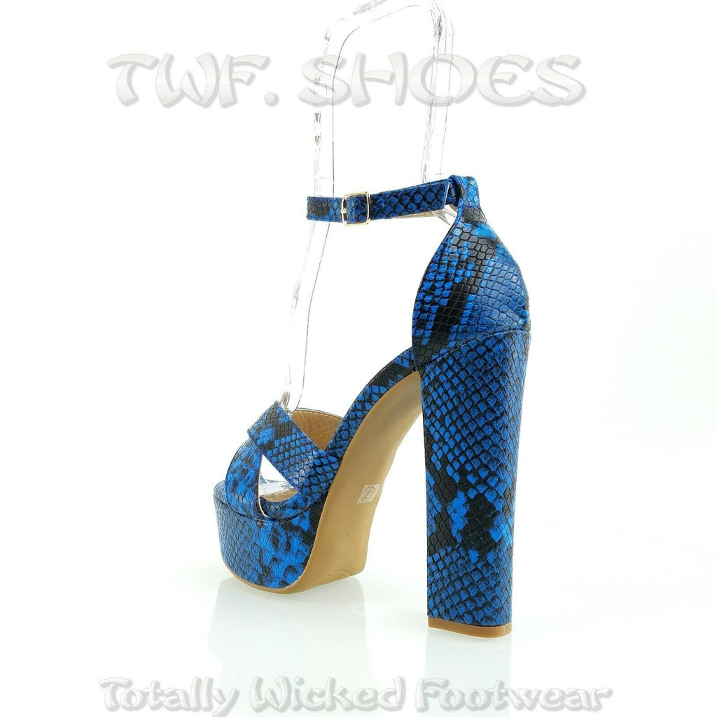 "Vickie Colorful Blue Snake Print 5.5"" Block Heel 2"" Platform Sandal Shoes 7-11"