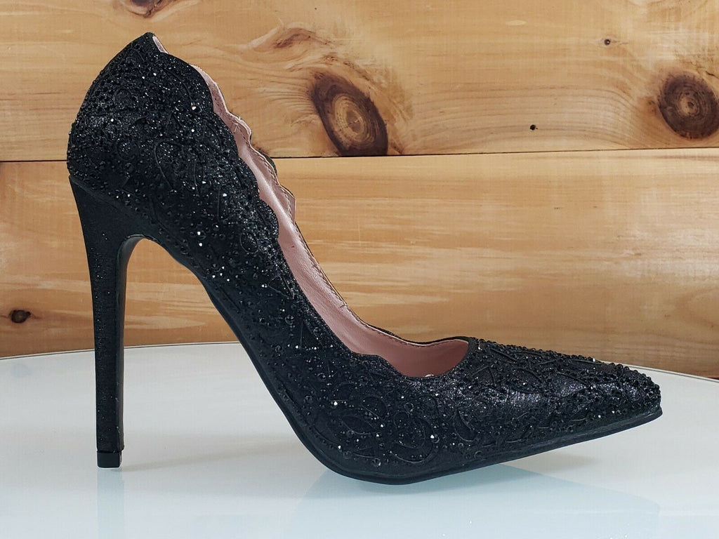 "Bella Luna Sofia Black Cut Out Glitter Fabric Jeweled 4.5"" High Heel Pump Shoe"