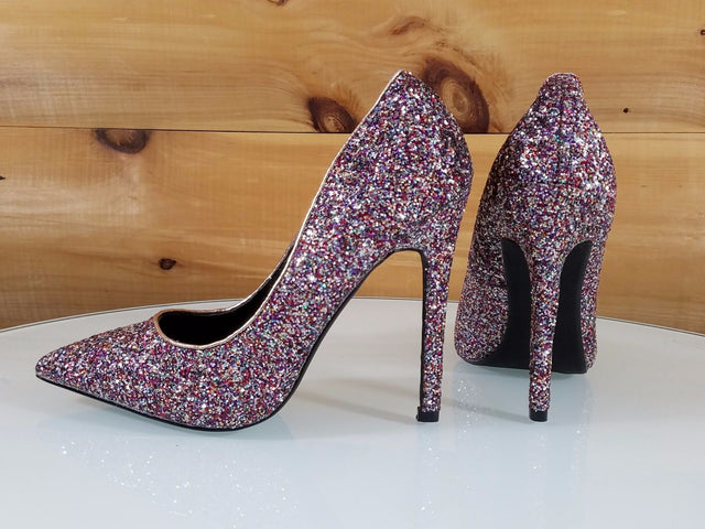 "CR Priscilla Multi Glitter Pointy Toe Pump 4.5""  High Heel Shoes"
