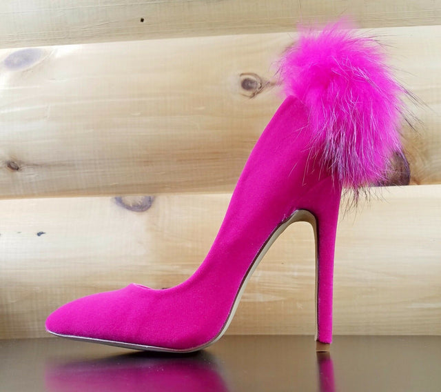 "Liliana Fuchsia Velvet Single Sole Pom Pom Fur Pointy Toe Pump 5"" Heel Shoe 7-10"