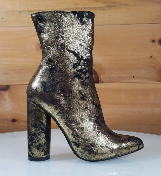 CR Black Metallic Gold Cylinder High Heel Ankle Boots Size