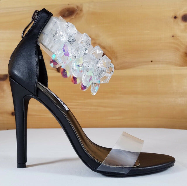 "Cape Suzy 54 Black Matte & Gemstone Ankle Strap 4.5"" High Heel Sandal Shoe"
