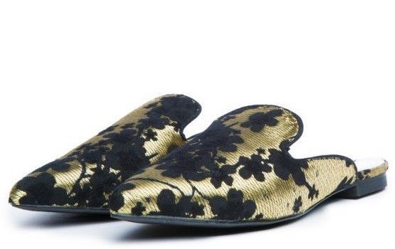 CR Pointy Toe Gold Flats Mules Clog Embroidered Floral Slippers