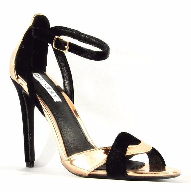 "Cape Robbin Suzy 5 Metallic Rose Gold & Black Velvet 4.5"" High Heel Sandal Shoes"