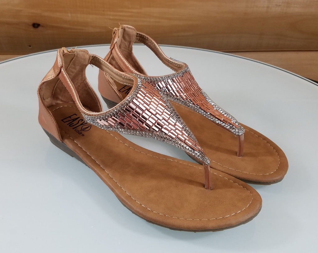 62c704035ef9 Easy USA Rose Gold Rhinestone Flat Thong Sandal Shoes Closed Back Zipper