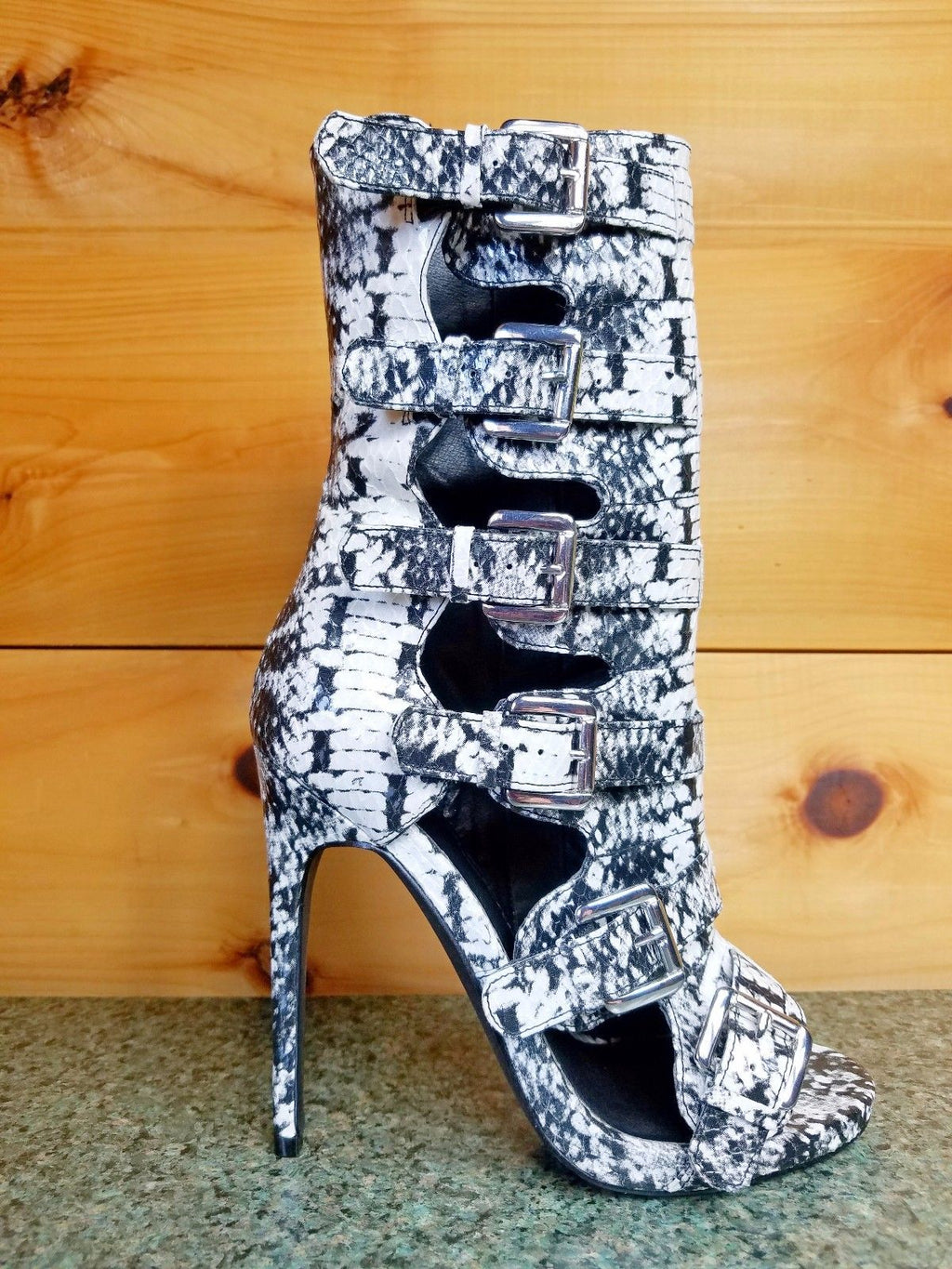 Nelly Bernal Lola Black & White Snake 5 Buckle 4.75 Heel Ankle Boot