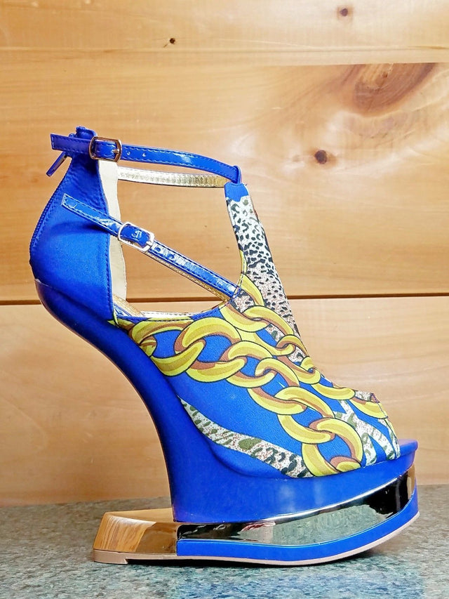 Mona Mia Aymor Blue Satin Multi Color Heel Less Open Toe Wedge Shoe