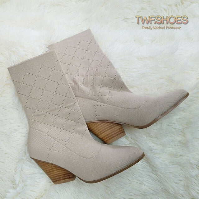 Sammy Pull On Stretch Knit Western Design Ankle Boots 6 -11 - Nude