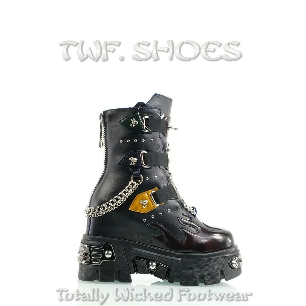 "WTF Dreamz Punk Goth 2.5"" Platform Ankle Boots Flame Patch Chains Studs Black Anthony Wang"