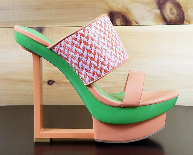 "Shoe Republic Kee Orange Green Unique Slip On Modern 6"" Wedge Heel 6-10"