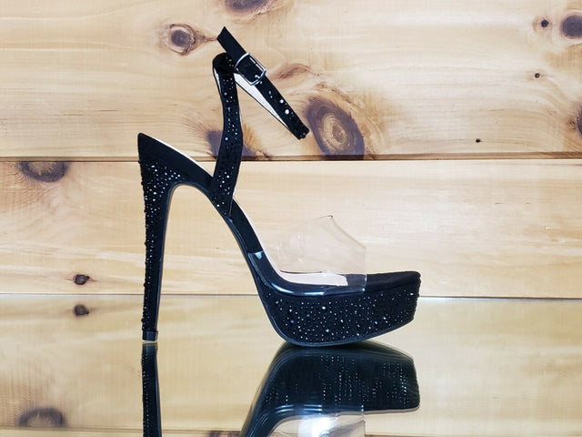 "Bella Luna Clear Toe Strap Black Rhinestone Crystal 5"" High Heel Sandal Shoes"