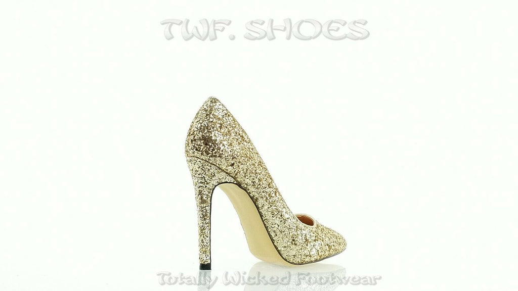 "Monica 100 Soft Gold Glitter 4"" High Heel Shoes Pointy Toe Pump 6.5-11"