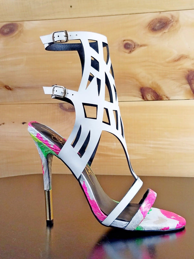 Lust for Life Neon Splash Fusion White Snake Skin Cut Out Vamp Shoe