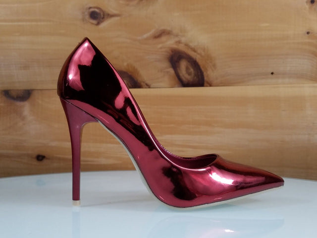 "WeeBoo Burgundy Metallic Hologram 4"" High Heel Shoes Pointy Toe Pump 6.5-11"