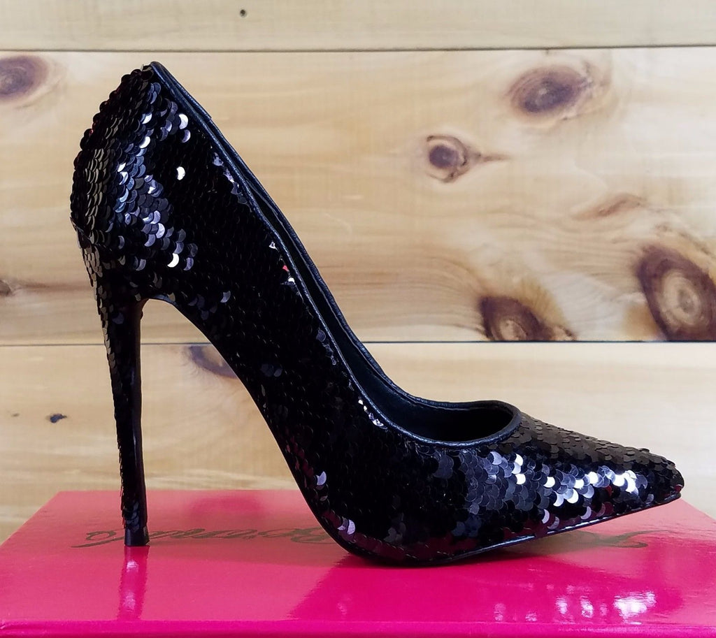 Nelly Bernal Famous Black Red Reversible Sequin Pointy Toe Pump