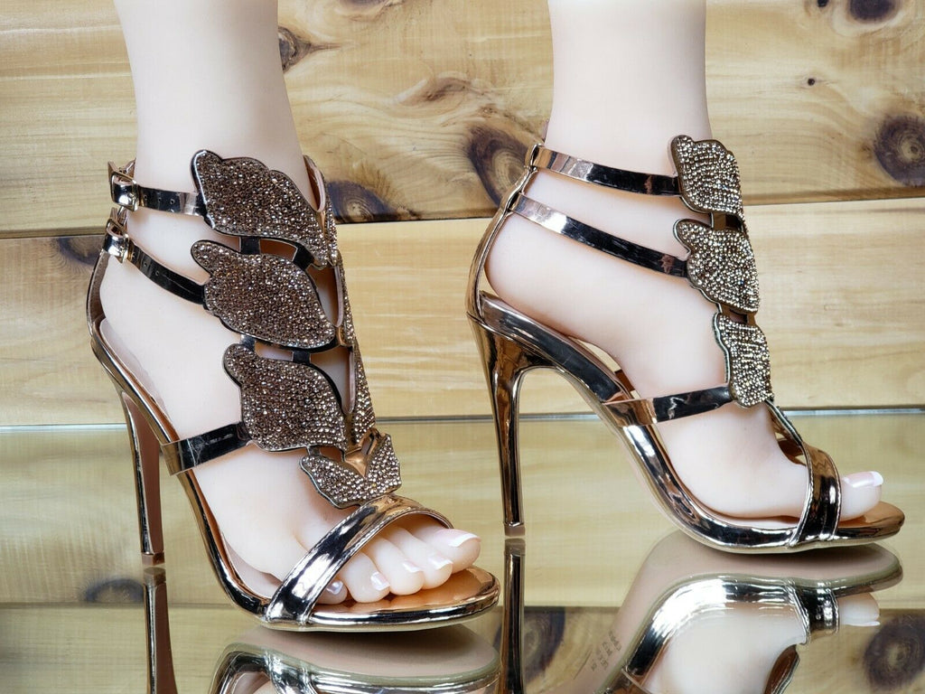 "Bella Luna Fairy Wings 4.25"" High Heel Sandal Stiletto Shoe Rose Gold 6-10"
