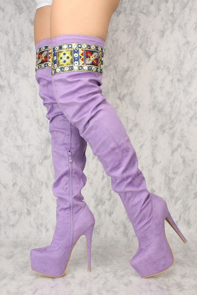 "Top Show Lilac Purple Platform 6.5"" High Heel Embroidery Thigh Crotch Boot"