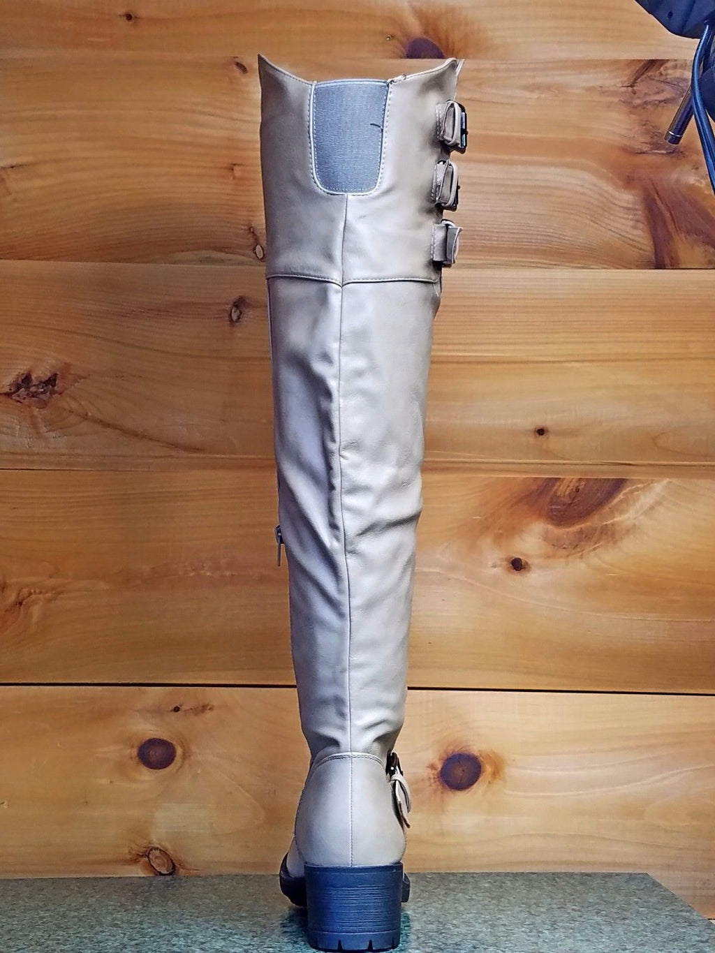 Chuck Beige Leatherette Triple Buckle Thigh High Lug Sole Riding Engineer Boot