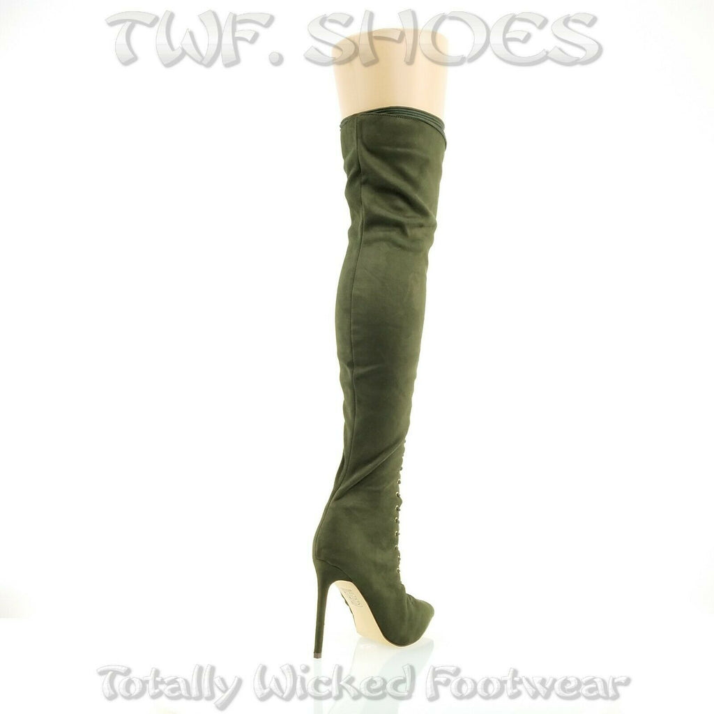 "So Me Amara Lace Up 4"" Stiletto High Heel Thigh Boots Olive Army Green Lace Up"