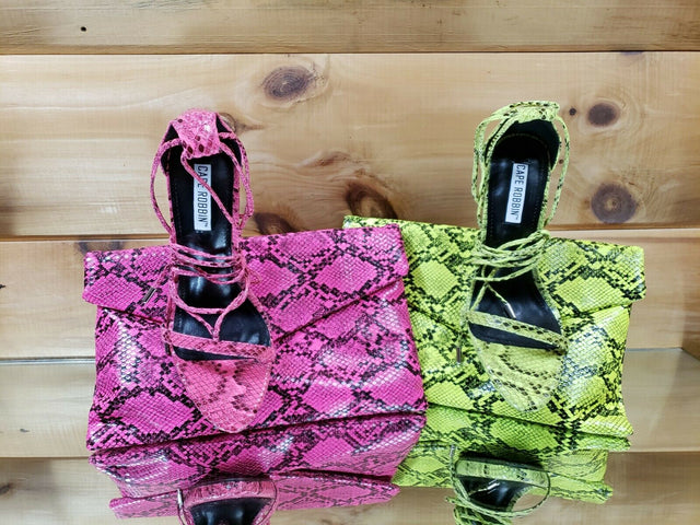 "Invader Neon Pink Snake Strappy Ankle Wrap Sandal 5"" High Heel Matching Clutch"