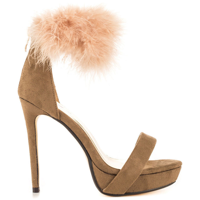 "Luichiny Fly Kite Taupe With Furry Ankle Cuff 5"" Heel 1"" Platform Shoe"