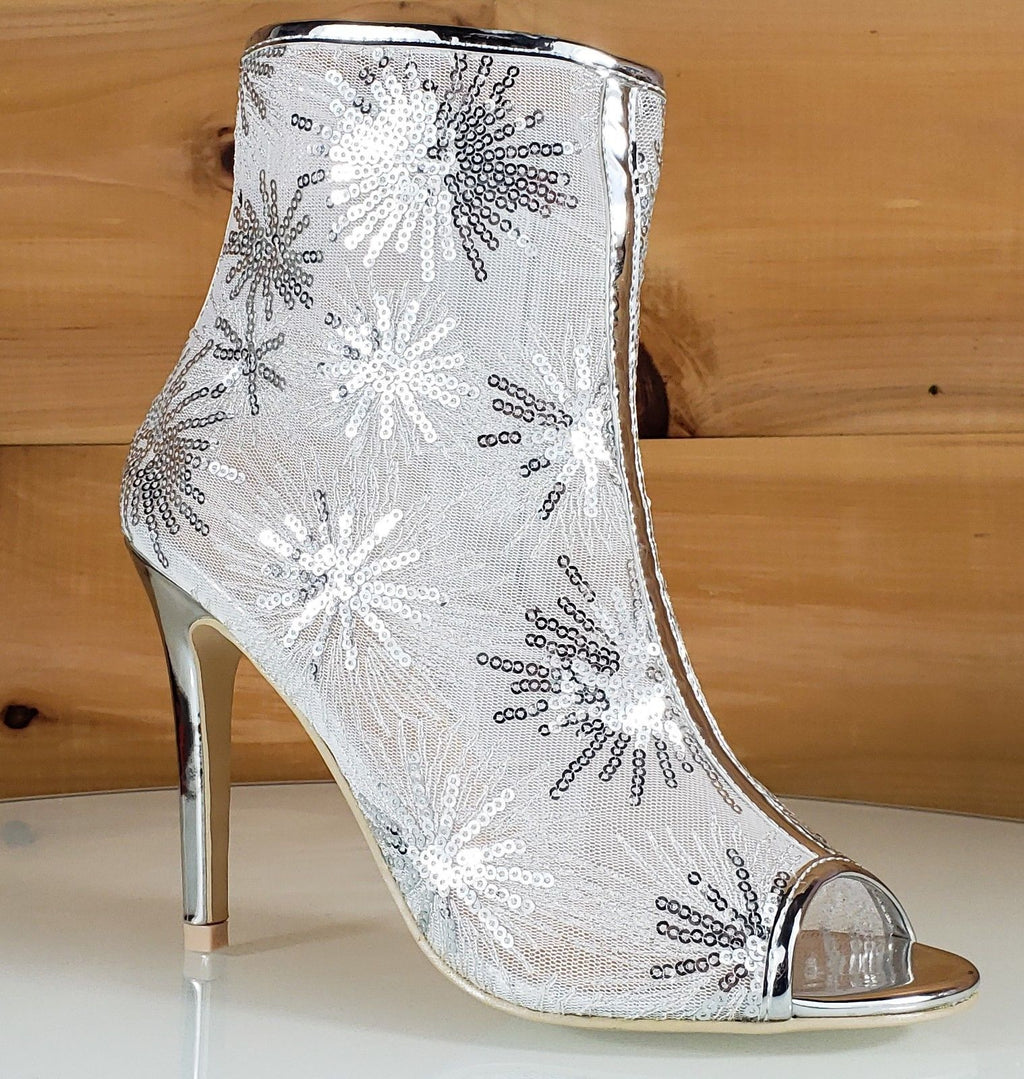 "Mac J Silver Sequin Mesh Open Toe Ankle Boot - 4"" High Heel Shoes"