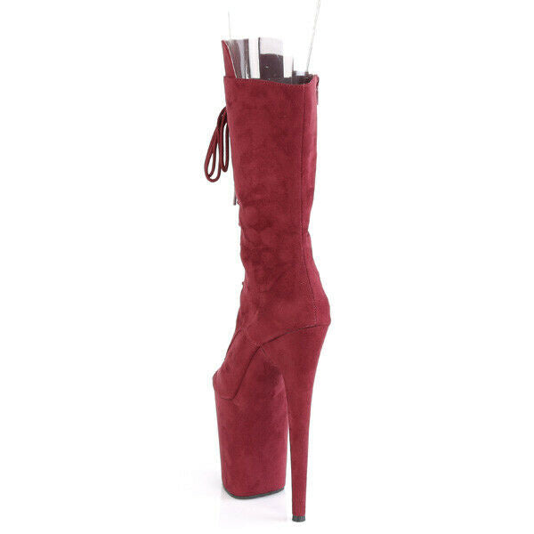 "Flamingo 1051FS Burgundy Red V-Suede 8"" Heel Platform Open Toe Mid Calf Boots"