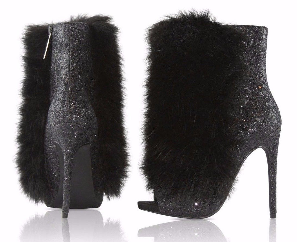 "Nelly Bernal Bestie Black Glitter Vegan Fur Open Toe 4.5"" High Heel Ankle Boots"