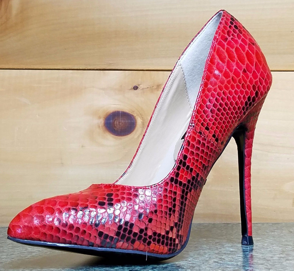 HH Fierce 21 Red Snake High Heel Pointy Toe Pump Shoe Arch Support Comfort