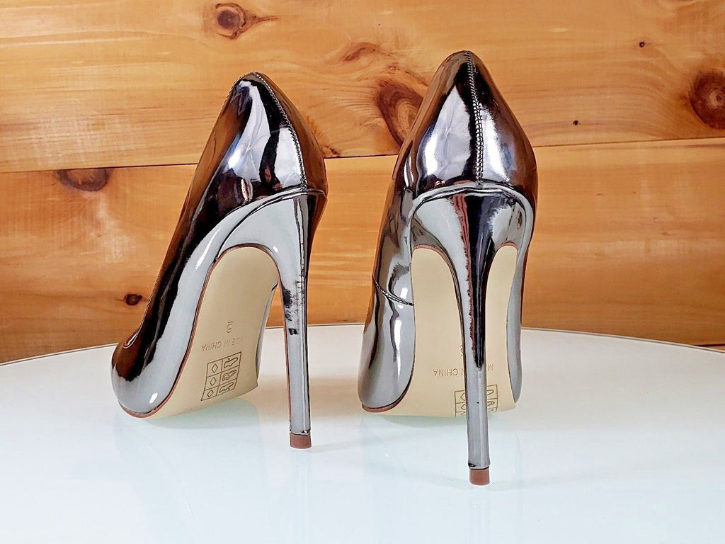 "Red Cherry Pewter Metallic Pointy Toe Pump Shoe 4.5"" Stiletto High Heels 6- 11"