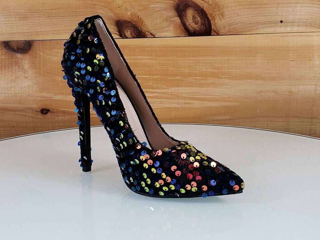 "Ricky 15 Black Multi Sequin Pointy Toe Pump Shoe 4.5"" High Heels 6- 11"