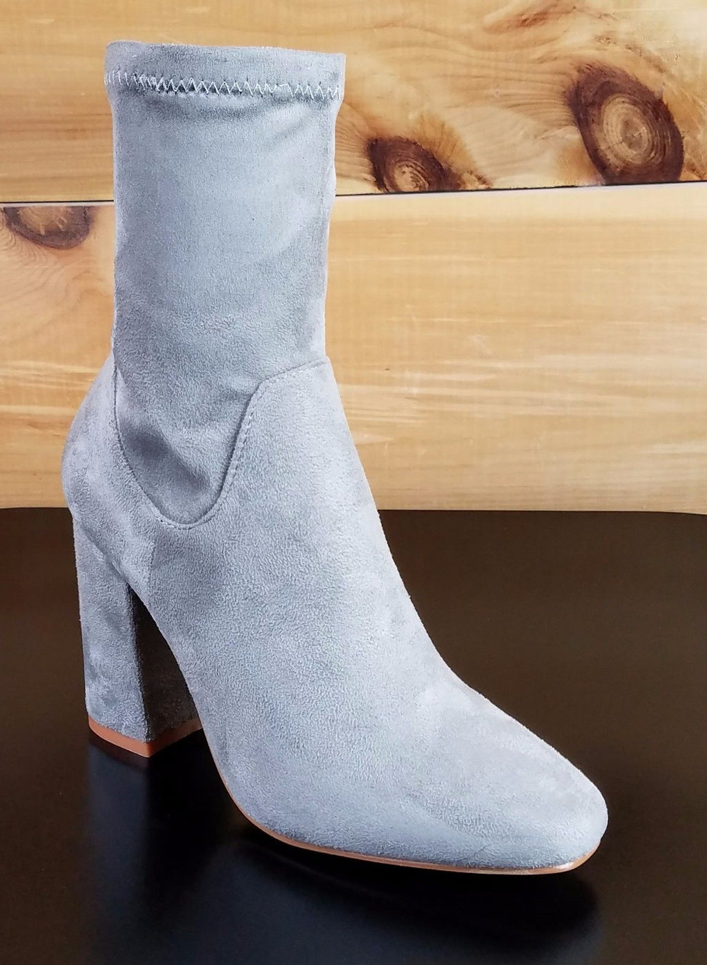 "Cape Robbin Light Gray Fabric Ankle Boot 3.5"" Block Heel"