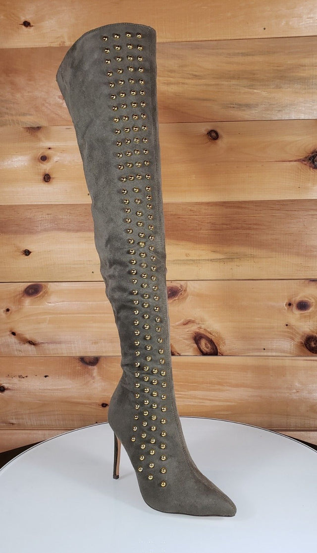 So Me Olive Green Pointy Toe High Heel OTK Above Knee Boots Gold Stud Stripe