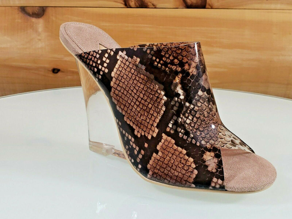 "Mac J Taupe Transparent Snake Print Slip On Clog 3.75"" Clear Acrylic Wedge 5 -10"