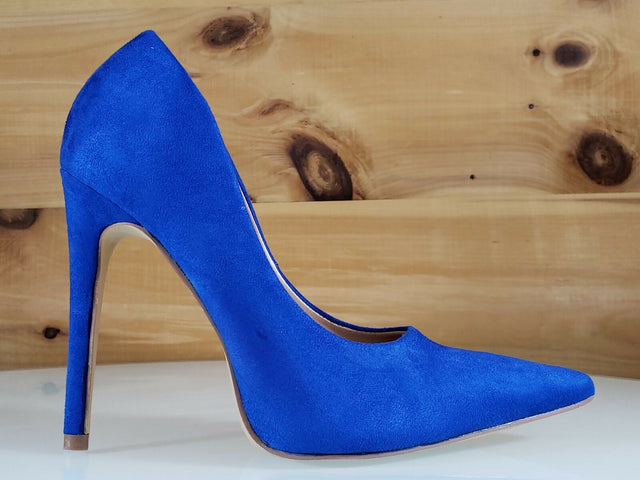 "Red Cherry Milly Blue Vegan Suede Pointy Toe Pump Shoe 4.5"" High Heels"