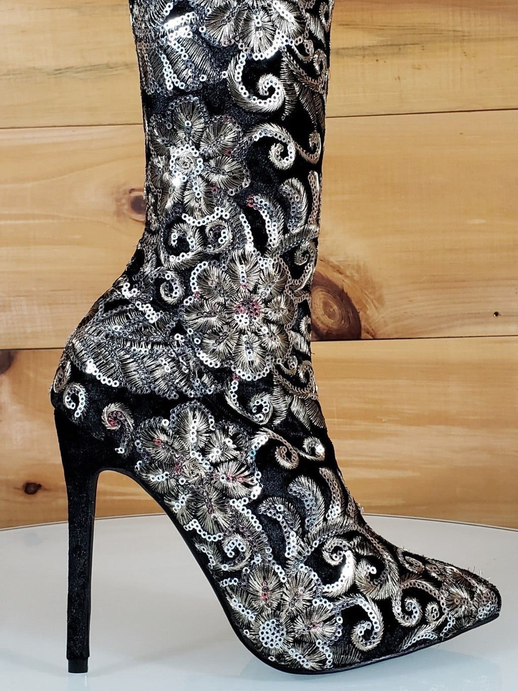 Beverly Black Velvet Floral Embroidered Silver Sequin OTK High Heel Boots 6-10