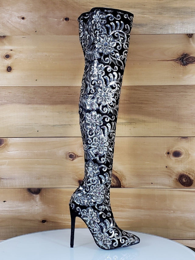 Beverly Black Velvet Floral Gold Embroidered Silver Sequined OTK High Heel Boots