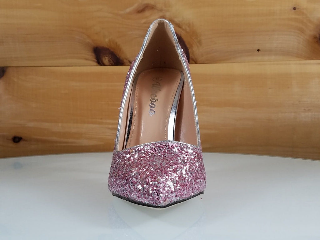 "WeeBoo Pink Silver Glitter 4"" High Heel Shoes Pointy Toe Pump 6.5-11"