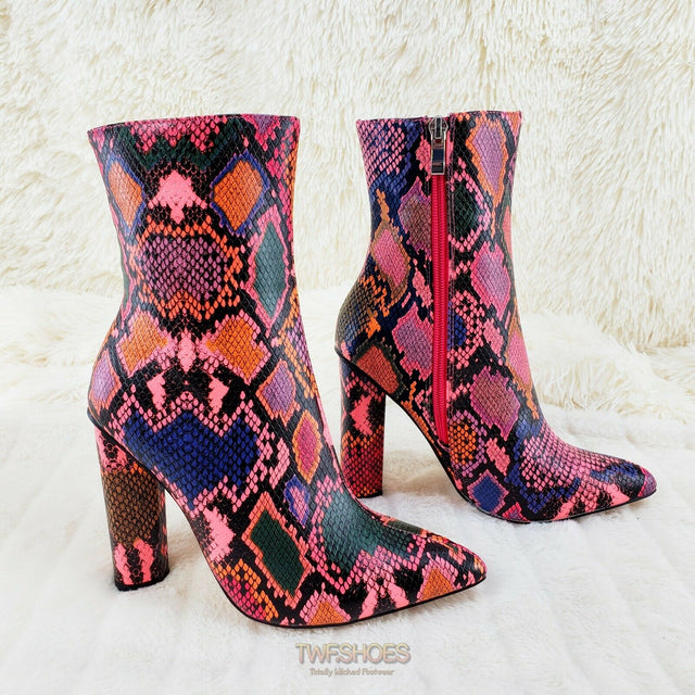 "Snake Bite Hot Pink Multi 4"" Chunky High Heel Ankle Boots 6-11"