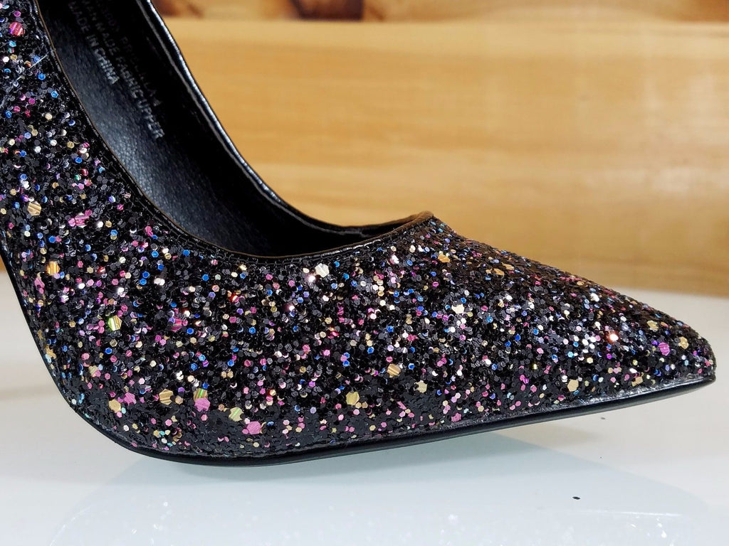 "CR Priscilla Black Multi Glitter Pointy Toe Pump 4.5""  High Heel Shoes"