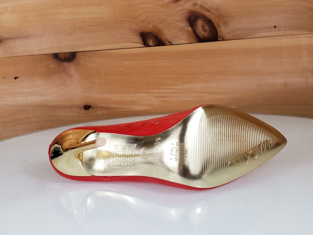 "Mac J Transparent Red Pointy Toe Pump Gold 4.5"" High Heel / Sole Shoes 7-11"