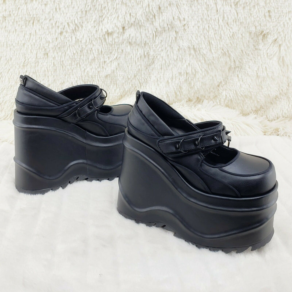 "Wave 48- 6"" Platform Black Matte Goth Punk Mary Jane Shoes Demonia NY - Totally Wicked Footwear"