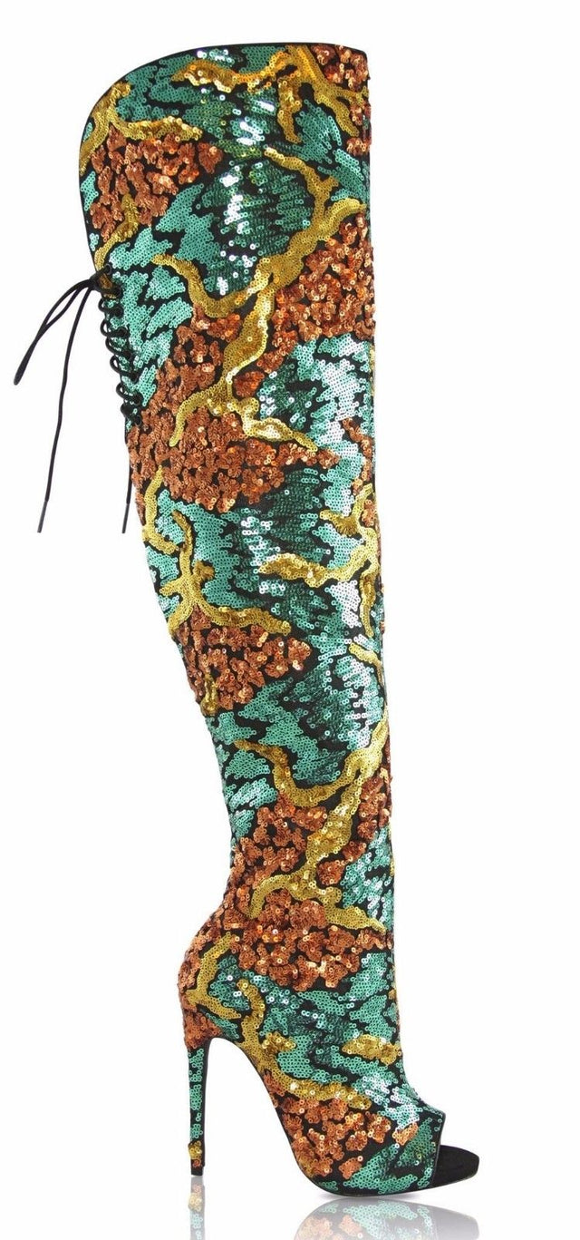 Nelly Bernal Celebrity Copper Green Sequin Thigh High Open Toe Boot