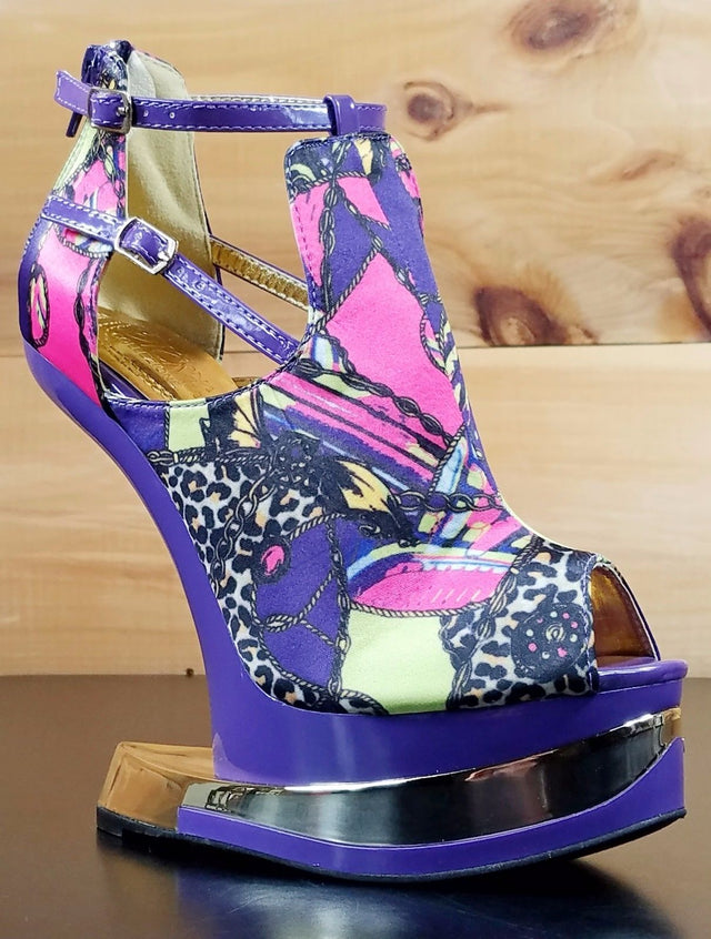 Mona Mia Aymor Purple Satin Multi Color Heel Less Open Toe Wedge Shoes