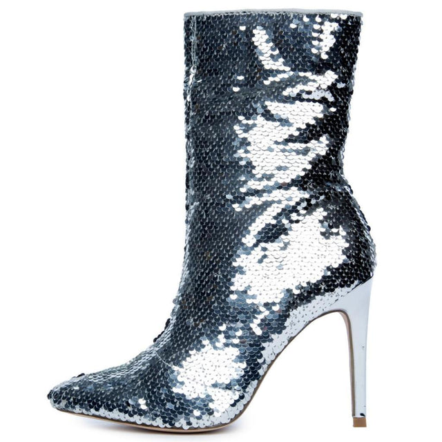 "CR Silver Sequin Pointy Toe Ankle Boot Full Side Zipper 4"" High Heels 6-11"
