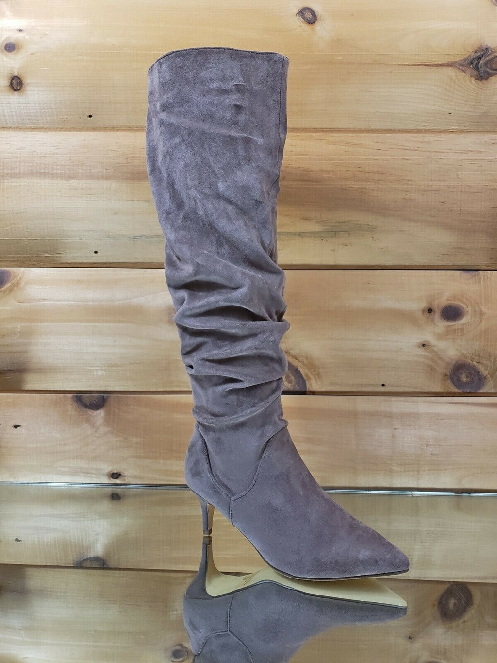 "Autumn Pointy Toe 2"" Low Kitten Heel Slouchy Knee High Boot 6.5 - 11 Taupe"