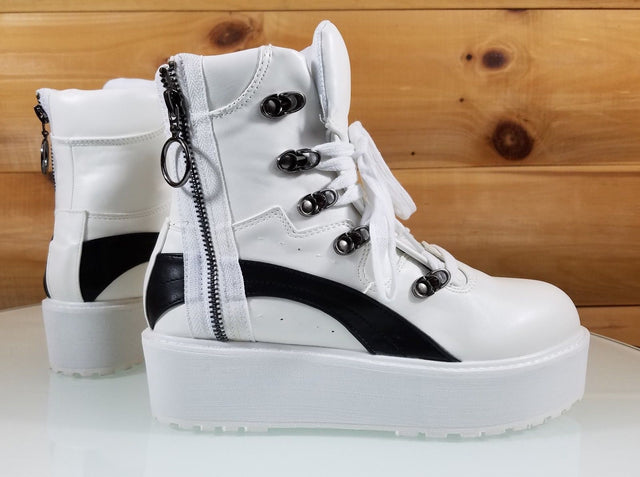 CR Trixie White Platform Sneaker With Side Zipper & Work Boot Tread